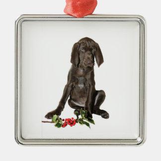 Het Puppy van de Wijzer van Kerstmis Zilverkleurig Vierkant Ornament