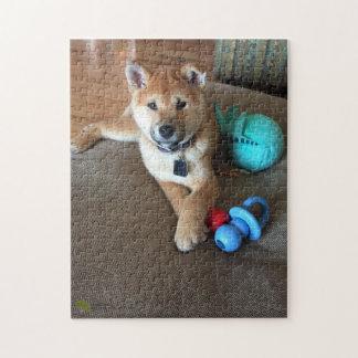 Het Puppy van Inu van Shiba met de Kleurrijke Foto Puzzel
