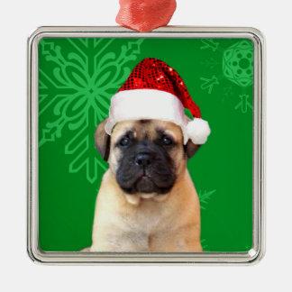 Het puppy van Kerstmis bullmastiff Zilverkleurig Vierkant Ornament