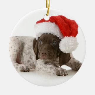 Het Puppy van Kerstmis - Duitse Kortharige Wijzer Rond Keramisch Ornament