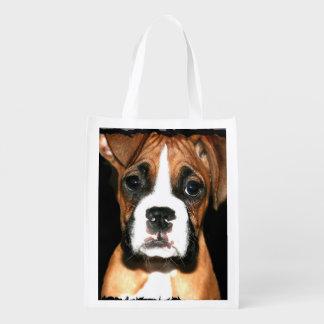Het puppyhond van de bokser herbruikbare boodschappentas
