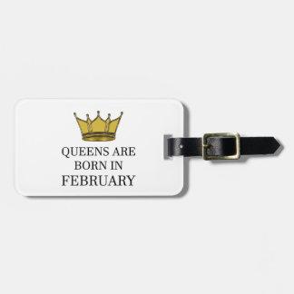 Het Queens is Geboren in Februari Kofferlabel