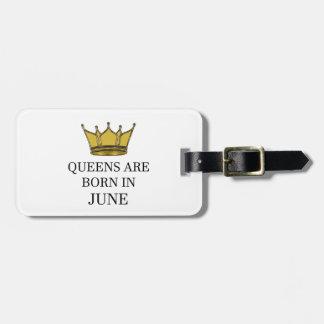 Het Queens is Geboren in Juni Bagagelabel
