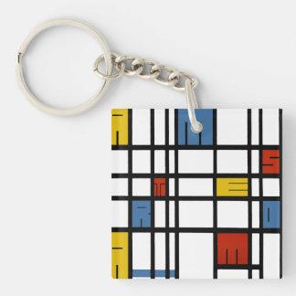 Het raadsel van Amsterdam (stijl Mondrian) Sleutelhanger