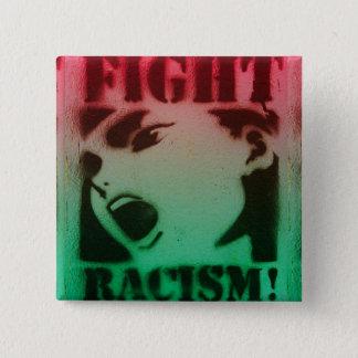 Het Racisme van de strijd in Rode Zwart en Groen Vierkante Button 5,1 Cm