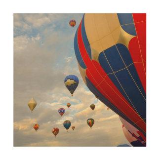 Het Ras van de Ballon van de hete Lucht in Reno Hout Afdruk