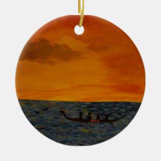 Het Ras van de Boot van de draak Rond Keramisch Ornament