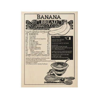 Het Recept van het Brood van de banaan Houten Poster