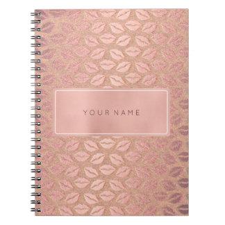 Het rechthoekige Roze nam de Gouden MetaalKus van Ringband Notitieboek