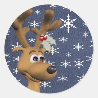 Het Rendier van Kerstmis Ronde Sticker