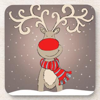 Het rendierreeks met een rode neus van Kerstmis Onderzetter