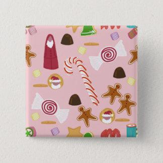 Het Riet en de Chocolade van het snoep op Roze Vierkante Button 5,1 Cm