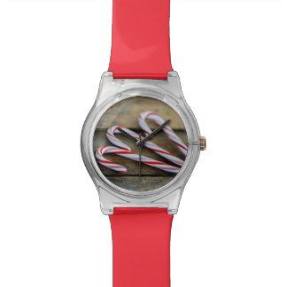 Het Riet van het Snoep van Chrstmas op Vintage Horloge