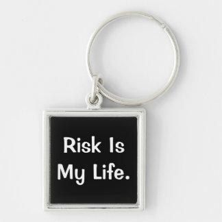 Het risico is Mijn Leven - het Diepgaande Spreuk v Zilverkleurige Vierkante Sleutelhanger