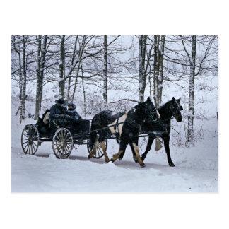Het rit-Briefkaart van het Vervoer van de Winter Briefkaart