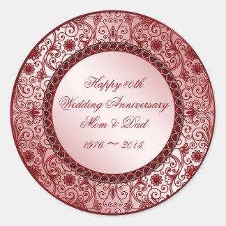 Het robijnrode 40ste Jubileum van het Huwelijk om Ronde Sticker