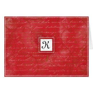 Het robijnrode Rood dankt u kaardt Kaart