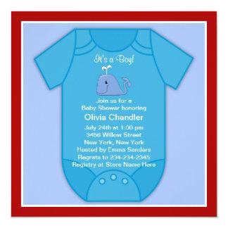 Het rode Baby shower van de Blauwe vinvis Kaart
