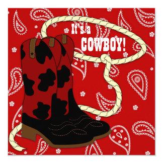 Het rode Baby shower van de Cowboy Bandana Kaart