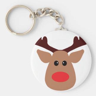 Het Rode Besnuffelde Rendier van Kerstmis Basic Ronde Button Sleutelhanger