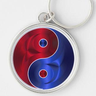 Het rode & Blauwe Metaal Zilveren Ketting van de Zilverkleurige Ronde Sleutelhanger