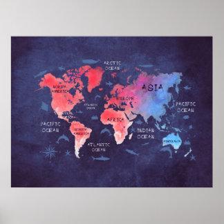 het rode blauwe poster van de wereldkaart