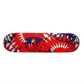 Het rode Blauwe Retro Skateboard van het Patroon