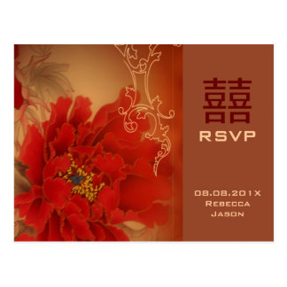 Het rode Chinese huwelijk RSVP van het Geluk van Briefkaart
