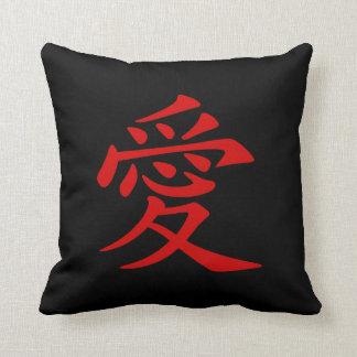 Het rode Chinese Symbool van de Liefde Sierkussen