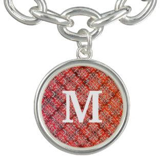 Het rode Damast van het Monogram van het Flanel Armbandje