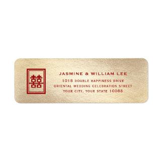 Het rode Dubbele Etiket van het Adres van het