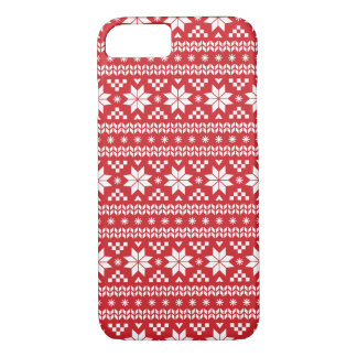 Het rode Eerlijke Patroon van de Sweater van iPhone 8/7 Hoesje