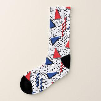 Het rode en Blauwe Abstracte Ontwerp van Memphis Sokken