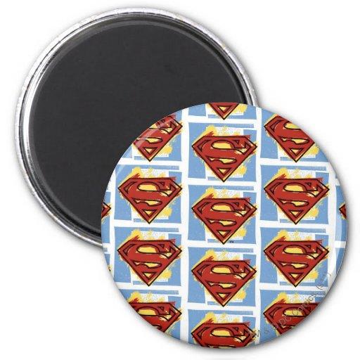 Het Rode en Blauwe Patroon van de superman Koelkast Magneet