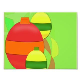 Het rode en Gele Ornament van de Kerstboom van de  Foto Prints