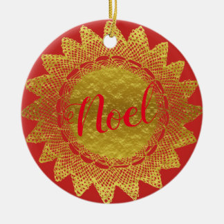 Het rode en Gouden Doily van het Kant Ornament van