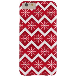 Het rode en Witte Patroon van de Chevron van de Barely There iPhone 6 Plus Hoesje