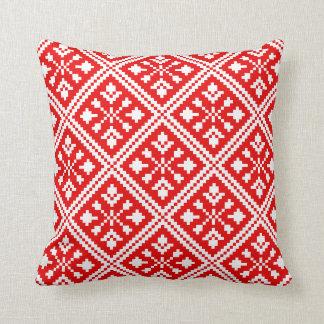 Het rode en Witte Patroon van de Sneeuwvlokken van Sierkussen