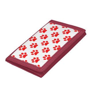 Het rode en witte patroon van puppypoten drievoud portemonnee