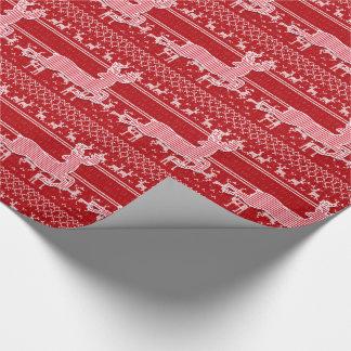 Het rode en Witte Rendier breit Sweater kijkt Cadeaupapier