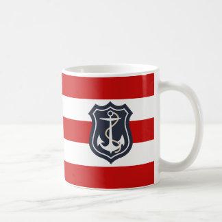 Het rode en Witte ZeevaartAnker van Strepen Koffiemok