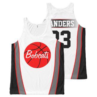 Het Rode en Zwarte Basketbal Jerseys van de douane All-Over-Print Tank Top