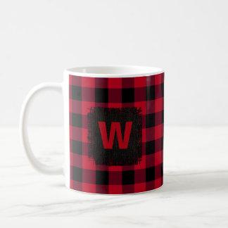 Het rode en Zwarte Monogram van de Controle van Koffiemok