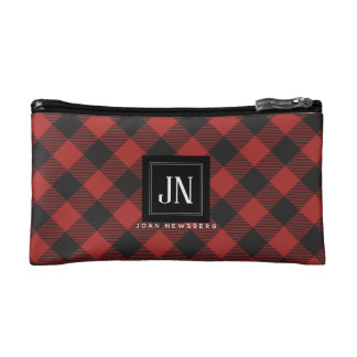Het rode en Zwarte Monogram van de Plaid van Make-up Bag