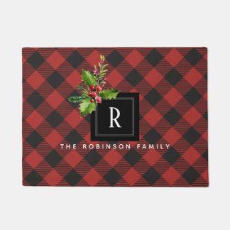 Het rode en Zwarte Monogram van Kerstmis van de Deurmat