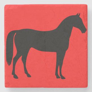 Het rode en Zwarte Silhouet van het Paard Stenen Onderzetter