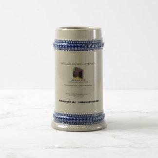 Het rode Etiket van het Bier van de Schuur Bierpul