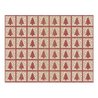 Het Rode Gebreide Patroon van Christmassy Briefkaart