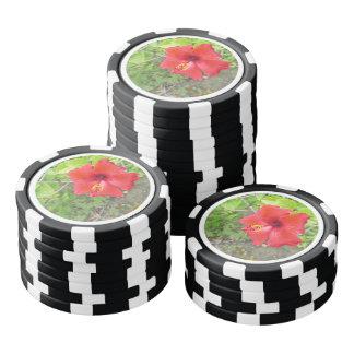 Het rode Gele stigma van de Hibiscus Pokerchips