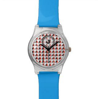 Het rode Geometrische Monogram van de Piramide Horloge